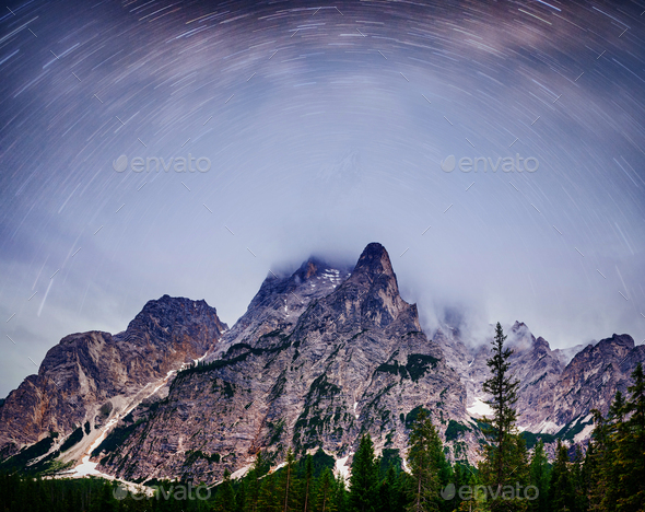 Fantastic starry sky. Autumn landscape and snow-capped peaks. Main Caucasian Ridge. Mountain View - Stock Photo - Images
