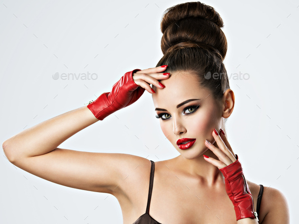 Beautiful sensual woman with glamour makeup. - Stock Photo - Images