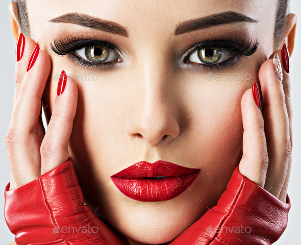 Beautiful woman with bright  fashion make-up. - Stock Photo - Images