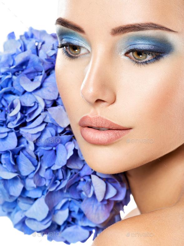 Makeup Face Flower Blue Woman Fashion - Stock Photo - Images