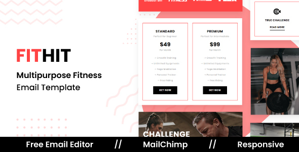 FITHIT – Responsive Email Template For Gym and Yoga With Free Email Editor