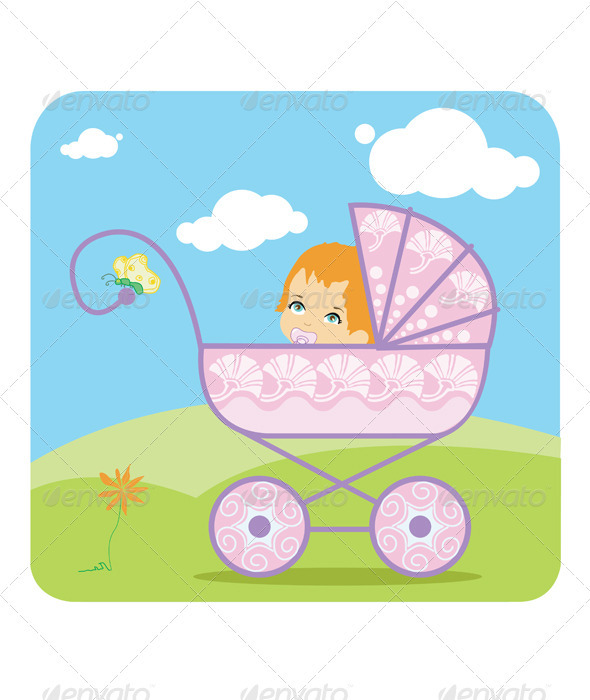Baby peeking out from a baby carriage  - People Characters