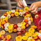 Making wreath autumn colorful strawflower - PhotoDune Item for Sale