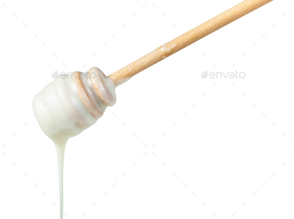 white honey pouring from wooden stick close up - Stock Photo - Images