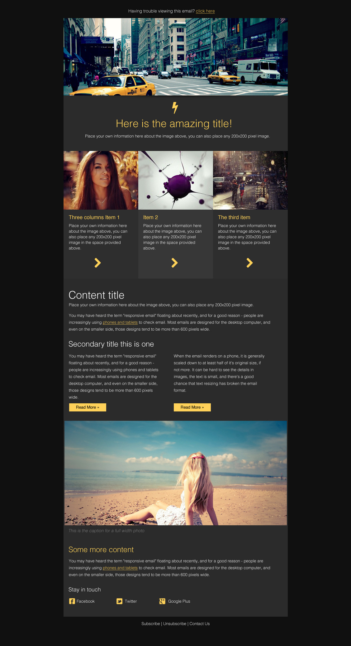 Focus Email Template (& Campaign Monitor versions) by Orcdork ...