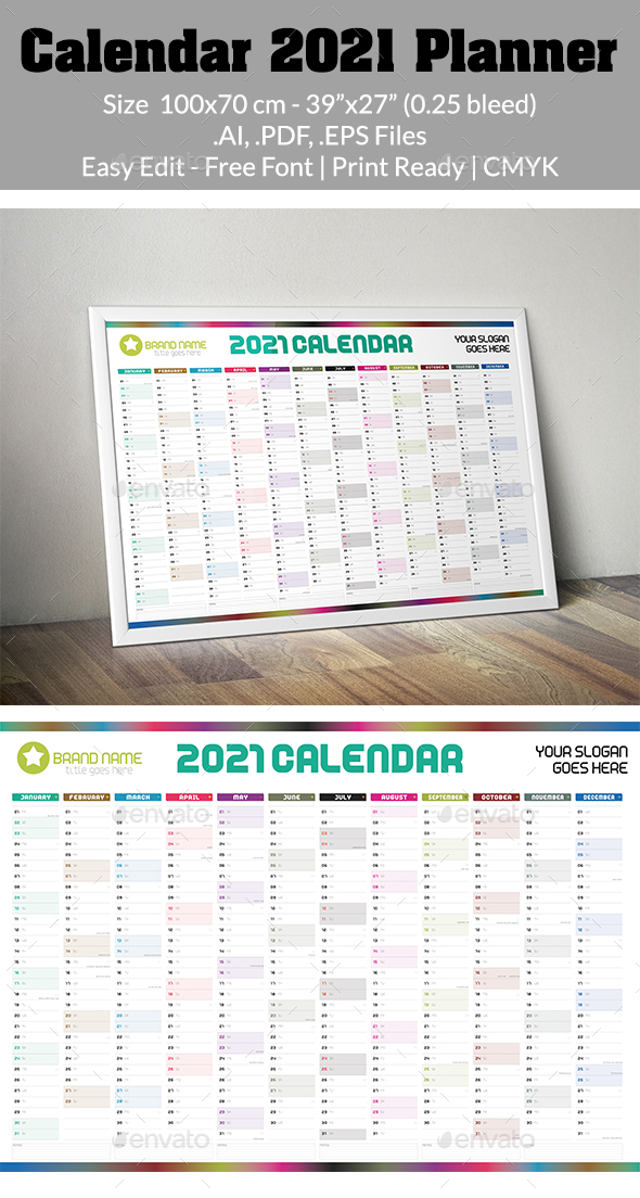 Calendar 2021 Planner Simple Style Vector