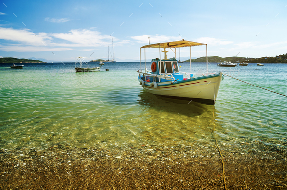 Colorful boat in Skiathos island - Stock Photo - Images