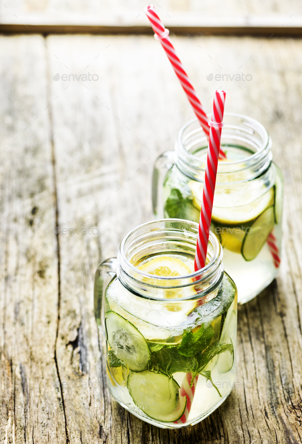 Detox lemonade with cucumber and mint - Stock Photo - Images