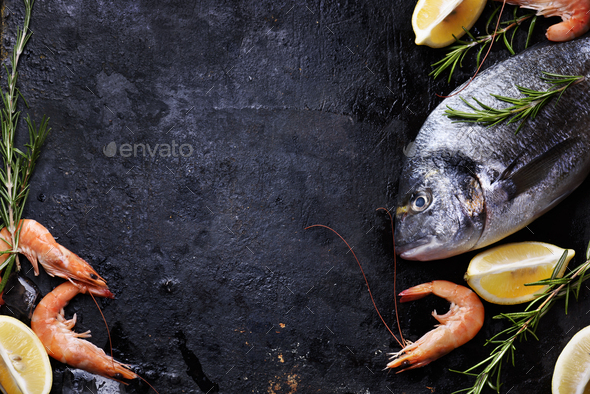 Seafood on black background - Stock Photo - Images