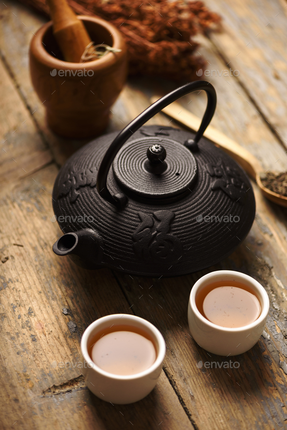 Traditional japanese herbal tea - Stock Photo - Images