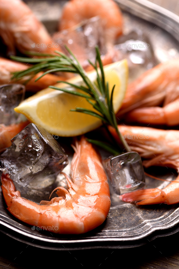 Shrimps on silver plate - Stock Photo - Images