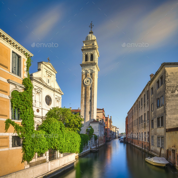 Venice sunset in San Giorgio dei Greci canal and church. Italy - Stock Photo - Images