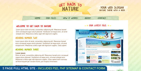 Free Download Get Back To Nature - HTML Nulled Latest Version