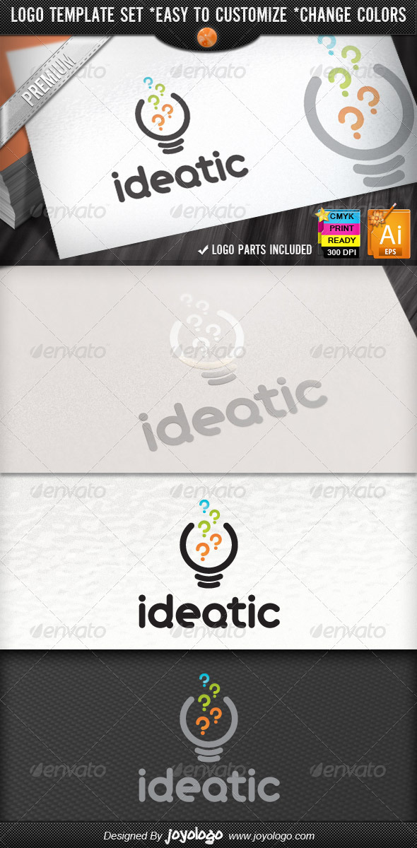 Bright Think Questions Creative Idea Logo Design - Symbols Logo Templates