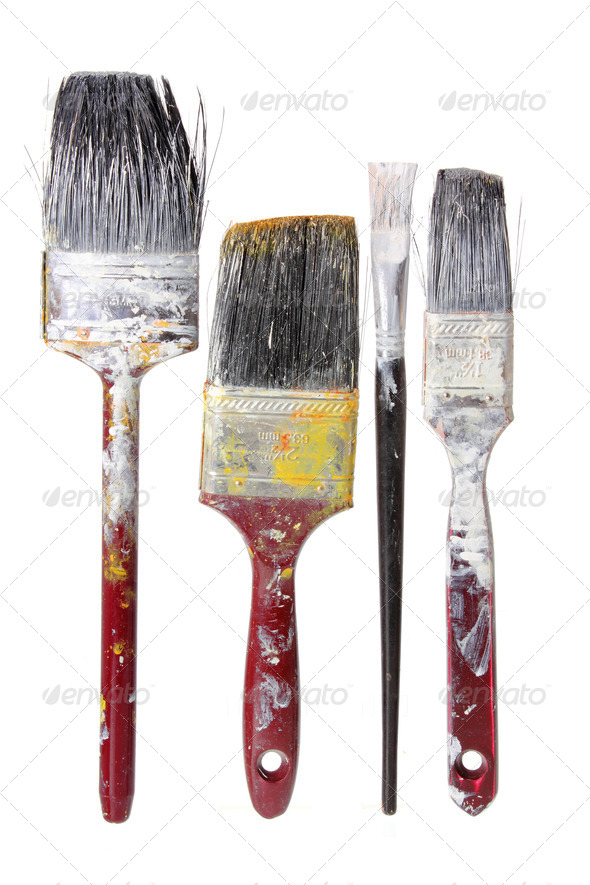 Old Paint Brushes - Stock Photo - Images