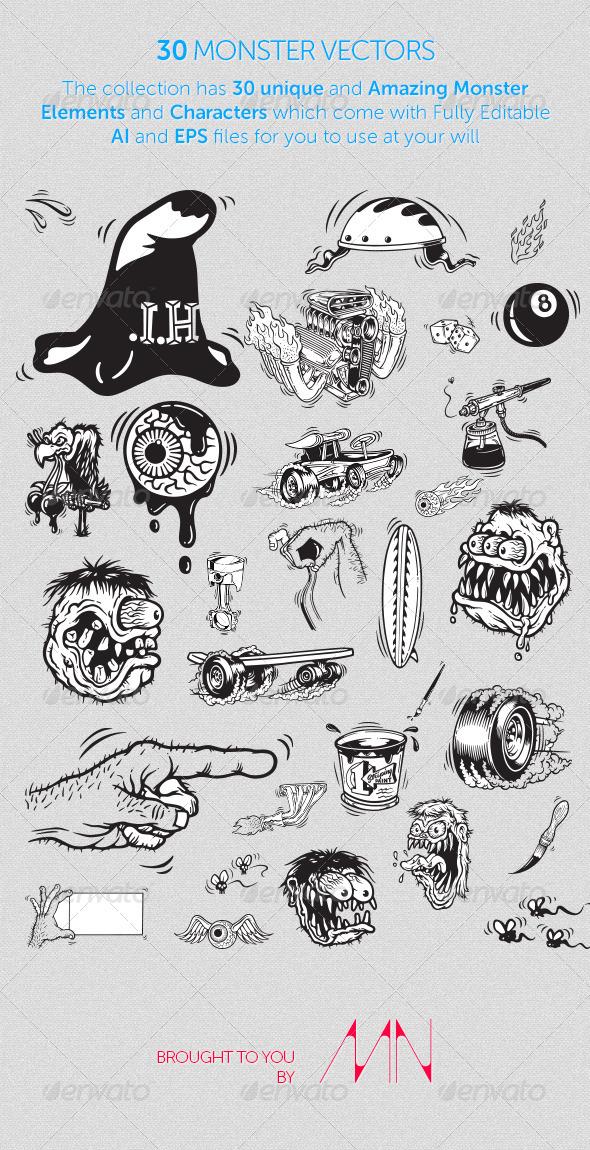 30 Monster Vectors - Characters Vectors