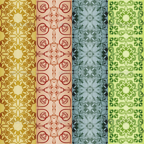 4 Seamless Retro patterns - Patterns Decorative