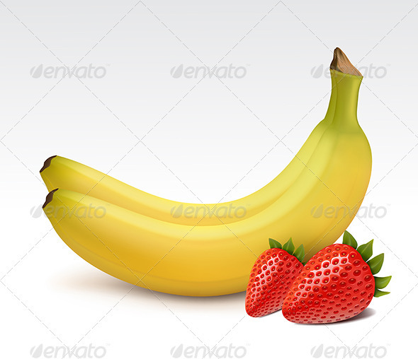 Bananas and fresh strawberries  - Food Objects