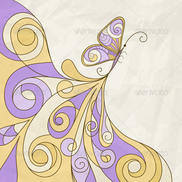 Butterfly and Abstract Pattern - Animals Characters