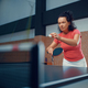 Woman hits ball at the wall, table tennis training - PhotoDune Item for Sale