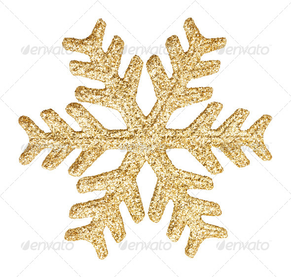 Gold glitter snowflake - Stock Photo - Images