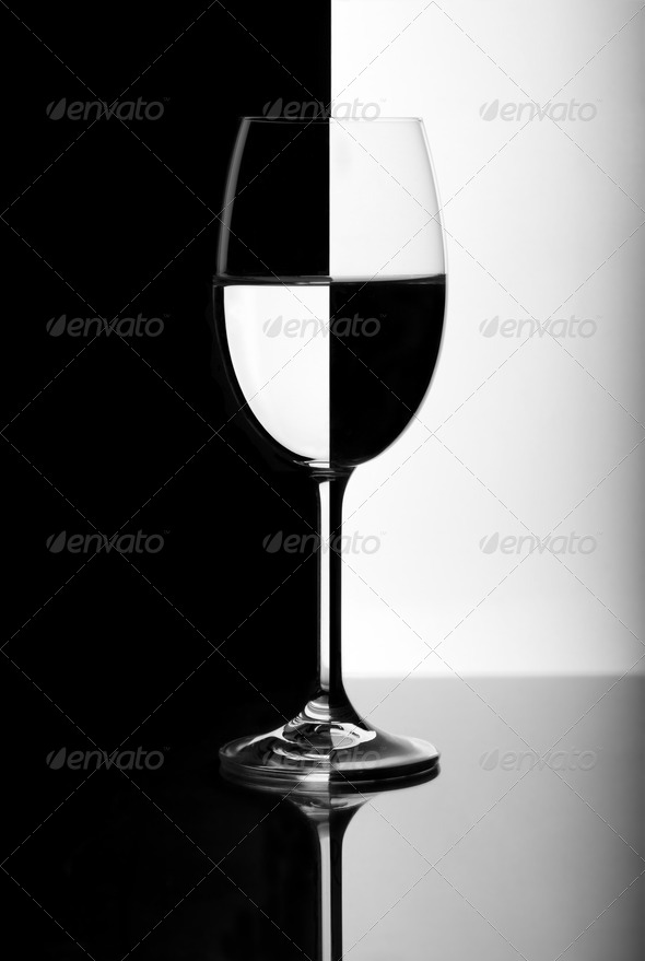 Black and white wine glass - Stock Photo - Images
