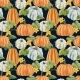 Autumn Vector Seamless Pattern with hand drawn watercolor pumpkin vegetable.