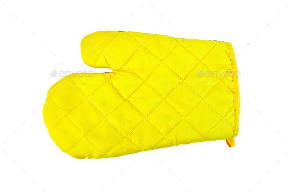 Kitchen yellow potholder - Stock Photo - Images