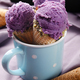 Wafer cones with blackberry icecream in blue mug on wooden kitchen table - PhotoDune Item for Sale