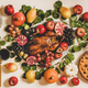 Thanksgiving party festive table with roasted duck, pie and appetizers - PhotoDune Item for Sale