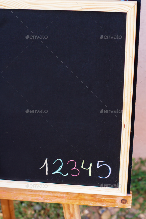Color numbers writed in a blackboard - Stock Photo - Images