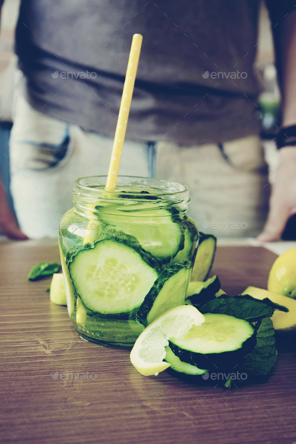 Recipe of cucumber water - Stock Photo - Images