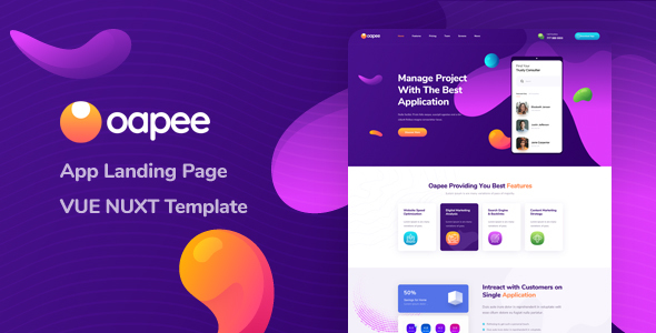 Oapee - Vue Nuxt App Landing Page Template