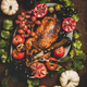 Flat-lay of roasted duck in autumn fruits for Thanksgiving party - PhotoDune Item for Sale