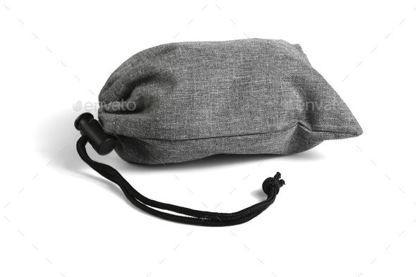 Gray Drawstring Bag - Stock Photo - Images