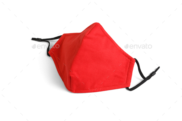 Red Reusable Fabric Face Mask - Stock Photo - Images