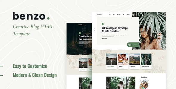Benzo – Personal Travel Blog HTML5 Template