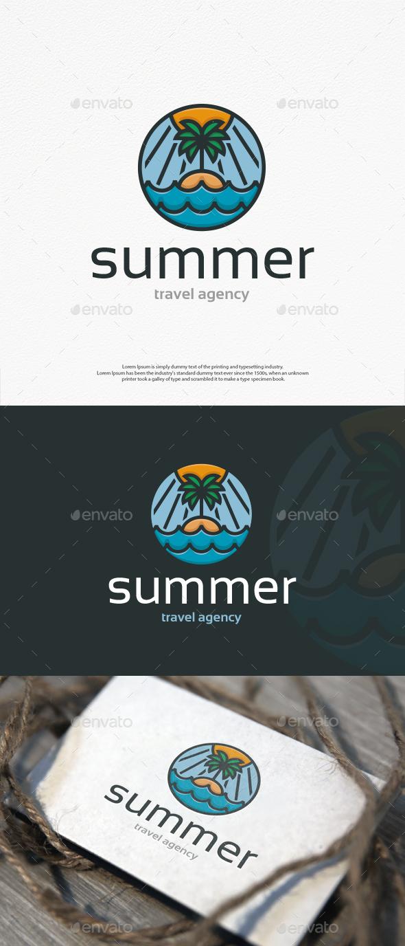 Summer Beach Island Logo Template