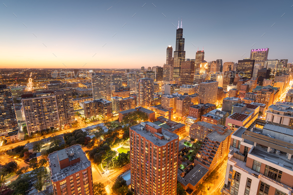 Chicago, Illinois, USA aerial cityscape towards Lake Michigan - Stock Photo - Images