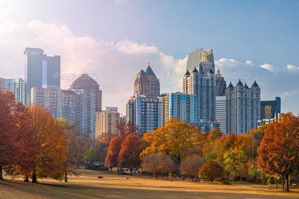 Atlanta, Georgia, USA midtown skyline from Piedmont Park - Stock Photo - Images