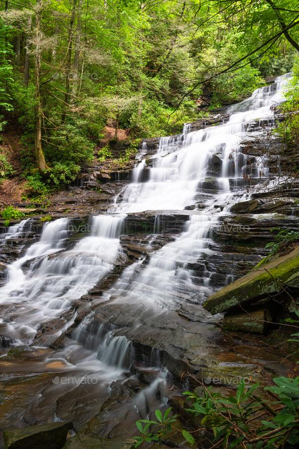 Panther Falls in Rabun County, Georgia - Stock Photo - Images