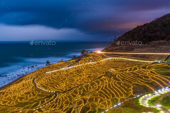 Wajima, Japan at Shiroyone Senmaida Rice Terraces - Stock Photo - Images