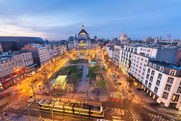Antwerp, Belgium cityscape at Centraal Railway Station - Stock Photo - Images