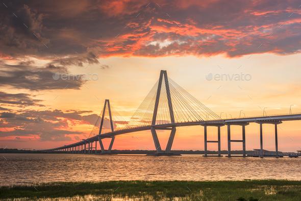 Charleston, South Carolina, USA at Arthur Ravenel Jr. Bridge - Stock Photo - Images
