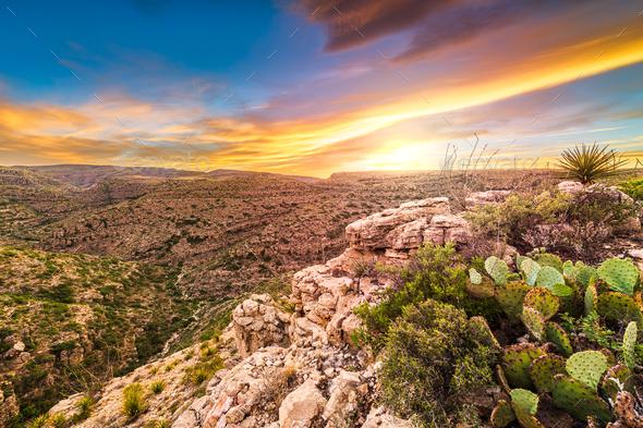 Carlsbad Cavern National Park, New Mexico, USA overlooking Rattlesnake Canyon - Stock Photo - Images