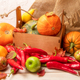 Fall decor with pumpkin, red peppers, wooden box - PhotoDune Item for Sale