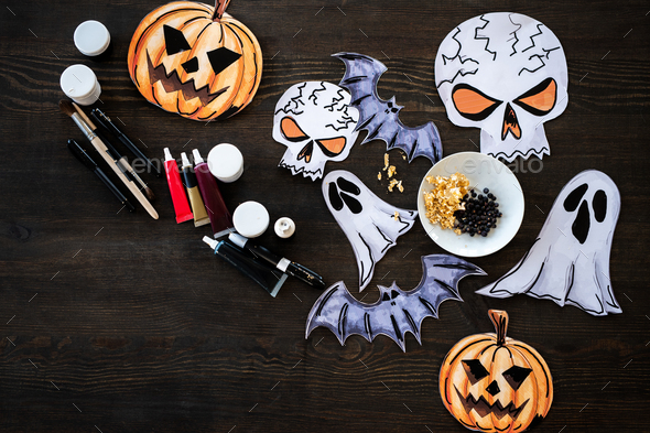 Creative paper Halloween pictures - Stock Photo - Images