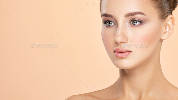 Beautiful face of young caucasian woman with perfect health fresh skin - Stock Photo - Images