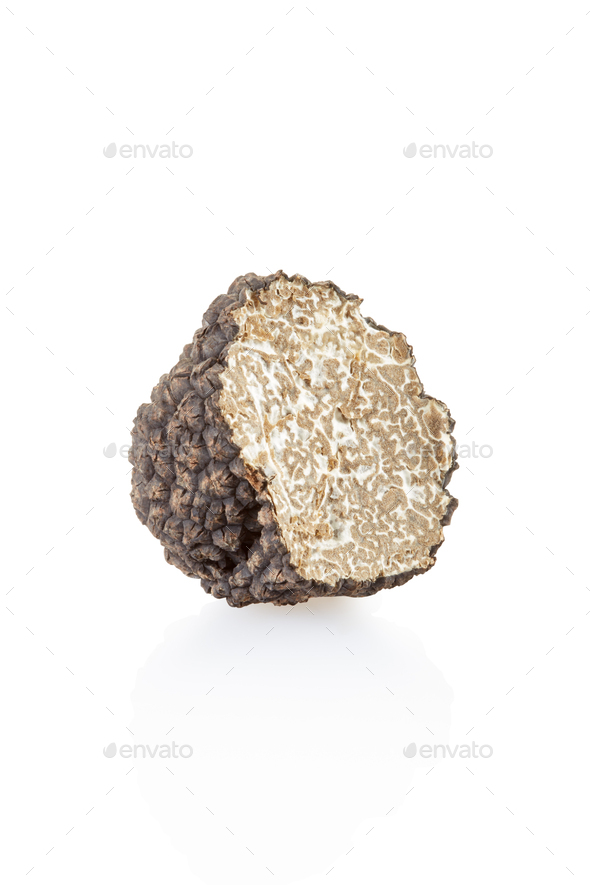 Black truffle section isolated on white, clipping path included - Stock Photo - Images