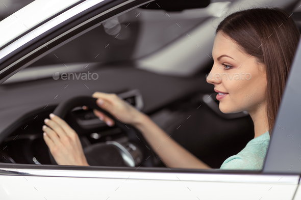 Woman in motor show - Stock Photo - Images